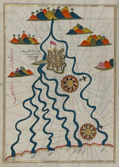 Piri Reis, 16th C: Map of the City of Ferrara with the Six Rivers Flowing into the Gulf of Venice, Kitab-ı Bahriye (Book of Navigation) | Public Domain Review