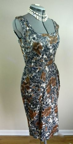 Mad Men 1960s Barkcloth Wiggle Dress 60s Abstract Sheath Form Fitting Curvy Body Con Dress Pin-up Bombshell Audrey Hepburn Liz Taylor by LOVEbyAprilLeigh on Etsy #vintagedress #vintagefashion #liztaylor #audreyhepburn #60s #1960s #wiggledress #bombshell #marilyndress
