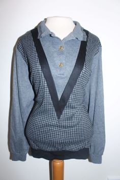 Alfred Dunner Top 2X Gray Black Houndstooth Long Sleeve Sweater  #AlfredDunner #Collared