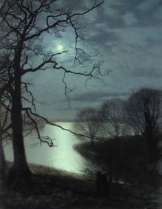 digitaler Kunstdruck: Watching a Moonlit Lake von John Atkinson Grimshaw