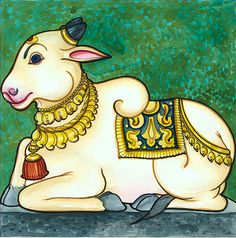 Last time we read about Shiva as the Bull. But the best known bull is Lord Shiva's vahana , the Nandi bull. Mysore Painting, Kerala Mural Painting, Art Painting Gallery, Cow Painting, Madhubani Painting, Pichwai Paintings, Indian Art Paintings, Zentangle, Indian Traditional Paintings
