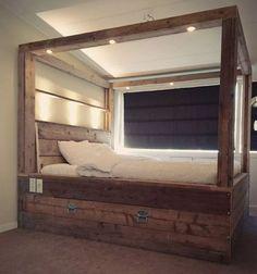 44 fabulously transform bedroom decor for romantic retreat 29 - Bett - Zapatos Pallet Furniture, Rustic Furniture, Pallet Beds, Luxury Furniture, Furniture Design, Outdoor Furniture, Home Bedroom, Bedroom Decor, Bedrooms