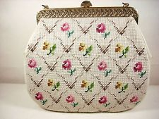 Vintage Needlepoint Purse Handbag Satchel Carpetbag Large Beige Floral Bag