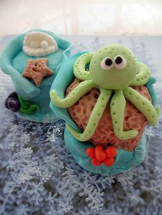 Pão de Mel decorado tema Fundo do Mar - Honey Cake decorated. Theme Under the Sea