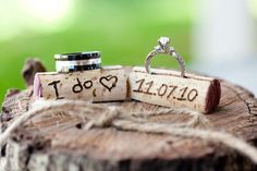 This post has a ton of awesome DIY ideas, like the wine-cork's for this ring shot. via Oh Lovely Day: {Real Wedding} Brittany & Sergio