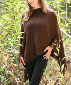 Another great find on #zulily! Brown Chocolate Basic Fringe Poncho #zulilyfinds