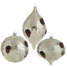 Antiqued Acorn and Leaf Glass Ornaments  Price : $39.95 http://www.perfectlyfestive.com/RAZ-Imports-Antiqued-Acorn-Ornaments/dp/B008SKSGKU