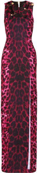 VERSUS VERSACE Embellished Animal Print Stretch Satin Maxi Dress - DRESSMESWEETIEDARLING