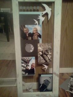 Took old window and used my scrapbooking stuff to create this