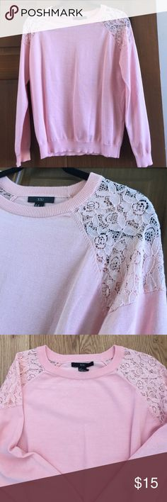 """Soft pink sweater with lace detailing Beautiful soft pink sweater. Drapes nicely and the lace detailing lets you dress it up or down. 20"""" under armpits and 24"""" overall length. XXI Sweaters Crew & Scoop Necks"""