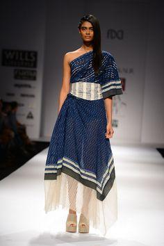 Indigo off-shoulder draped dress  by Urvashi Kaur. #shopnow #dress #urvashikaur #happyshopping