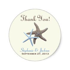 """Starfish wedding thank you stickers. Round stickers come in two sizes and have two, brown and blue sea stars in the center with template text on three lines. Say """"thank you"""" at the top, and add names and date to the bottom. Add to gift bags, thank you cards, or reception favors.View more ♥ Starfish favor labels and stickers."""