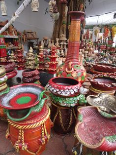 Khadi Exhibition Cum Sale: Colorful Indian potteries.  Photographed by: P. Ranreiphi Kharei