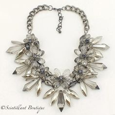 Grey full crystal necklace available to buy from www.facebook.com/Scintillantjewellery