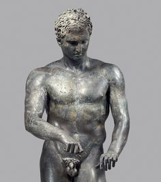 "Exhibition: 'Power and Pathos: Bronze Sculpture of the Hellenistic World' at the J. Paul Getty Museum, Getty Center, Los Angeles. http://artblart.com/2015/10/28/exhibition-power-and-pathos-at-the-j-paul-getty-museum-getty-center-los-angeles/ Art work: Athlete, ""The Ephesian Apoxyomenos"" (detail) A.D. 1-90 Greek Bronze and copper"