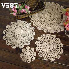 15-45cm Retro Pastoral Flower Placemat Table Mat Handmade Cotton Round Doily Insulation Cup Pads Doilies Crochet Lace Coaster
