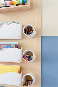 DIY kid's art station - this modern DIY costs under $20 and is renter friendly, requiring no permanent installation / holes