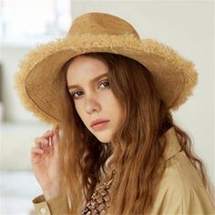 f074fdf450c Wide brim panama hat for sun protection womens raffia frayed straw hat beach  wear. Sun Protection HatSummer Hats ...