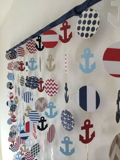 Nautical Anchor Paper Mobile Decor Wall Hanging by CraftyLittlePeas on Etsy Nautical Photo Booth, Nautical Party, Nautical Anchor, Nautical Backdrop, Nautical Centerpiece, Baby Shower Themes, Baby Boy Shower, Sailor Theme Baby Shower, Baby Shower Marinero