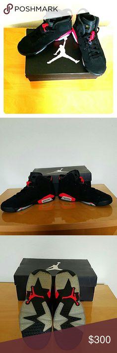 """Air Jordan 6 Retro BG Air Jordan 6 Retro """"Infrared"""" 384664 023 Size 5.5 youth/ 7 Womens. Black/Infrared 23, comes with original box. Jordan Shoes"""