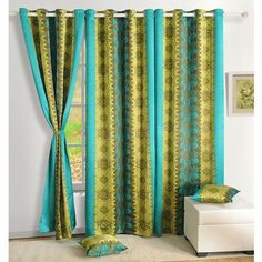 Swayam Premium Digitally Printed Blackout Curtain Green And Blue - Blackout material is used to craft this compelling curtain from Swayam. This digitally printed curtain will create quite a stir at home and looks fabulous in its blend of blue and green.