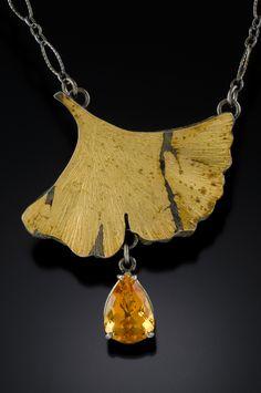 Keum boo ginkgo leaf pendant citrine sterling silver gold Kirk Sklar