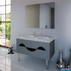 Bathroom furniture - Duplex; Dimensions: Cabinet - 120x54x52 cm; Mirror - 120x90 cm; Total hight of the cabinet - 84 cm;