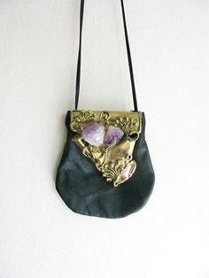 precious decay: purse of amethyst and gilt hide