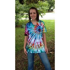 Bright Spiral Tie-Dye T-Shirt With v-Neck Hippie Clothes ($24) ❤ liked on Polyvore featuring tops, t-shirts, dark olive, women's clothing, olive green t shirt, tye dye shirts, v neck t shirts, hippie t shirts and v neck shirts