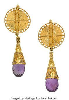 Estate Jewelry:Earrings, Amethyst, Diamond, Gold Earrings. ...