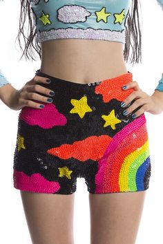 DI$COUNT RAINBOW HAND-SEQUINNED MINI SHORTS