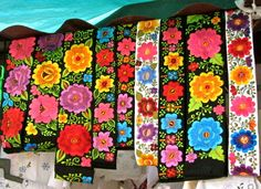 Embroidered hipil, one of the many gorgeous textile creations at the Sunday Fiesta. Mexican Folk Art, Mexican Style, Dress Up Storage, Mexican Flowers, Mexican Textiles, Mexican Embroidery, Mexican Designs, Mexican Dresses, Passementerie