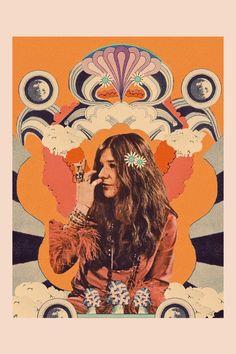 We love Janis Woodstock, Jimi Hendrix Poster, Female Rock Stars, Creedence Clearwater Revival, Hippie Love, Arte Pop, Psychedelic Art, Wall Collage, Rock Music