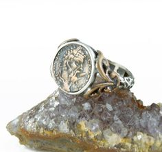 Ancient Coin Ring - Zeus - 925 Sterling Silver - fleur detailed band