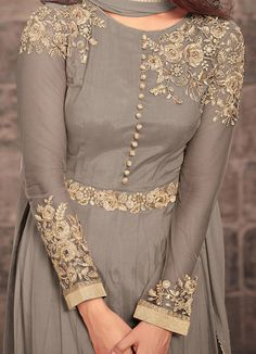 Gray Designer Embroidered Net Party Wear Anarkali Suit-Saira s Boutique Salwar Designs, Kurta Designs Women, Kurti Designs Party Wear, Blouse Designs, Embroidery Suits Design, Embroidery Fashion, Embroidery Dress, Embroidery Motifs, Designer Party Wear Dresses
