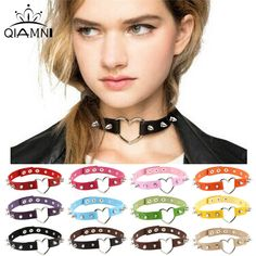 QIMING Colorful Black Necklace For 90s Girl Vintage Collar Gothic Rivet Leather Spiked Heart Necklace Neckband Wholesale Jewelry