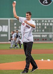 John Isner Baseball Player at Red Sox Game, Leads Trio of Americans in Newport Quarter-finals! Baseball Players, Baseball Cards, Sox Game, Final S, Newport, Basketball Court, Socks, Games