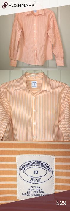 Women's BROOKS BROTHERS orange stripe button shirt This is a Women's BROOKS BROTHERS orange stripe fitted button shirt in a sz 10, Gently used condition! I ship fast weather permitting! Brooks Brothers Tops Button Down Shirts