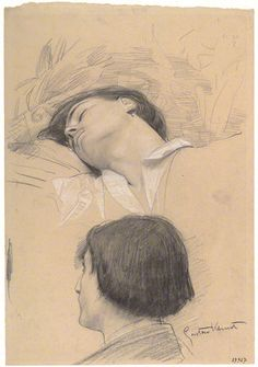 Studies for the Shakespeare's Theater - Reclining Young Man Head Study Drawing by Gustav Klimt Life Drawing, Figure Drawing, Drawing Sketches, Painting & Drawing, Art Drawings, Alphonse Mucha, Franz Josef I, Kathe Kollwitz, Klimt Art