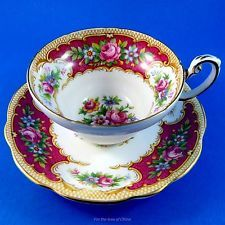 """Striking Deep Red Border with Florals """" Tudor """" Foley Tea Cup and Saucer Set"""