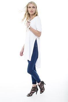 Simple and stylish the longer length tunic worn with demins and heels Nautical Fashion, Shoe Shop, Art Direction, Fashion Online, Duster Coat, Stylists, Fashion Accessories, Normcore, Tunic