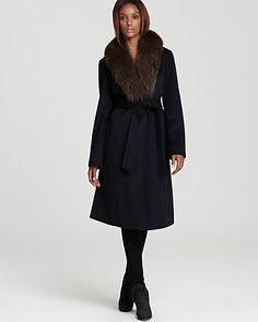 Navy Ellen Tracy Belted Wool Maxi Coat with Fur Trim | Bloomingdale's