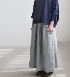 Linen big pocket long skirt