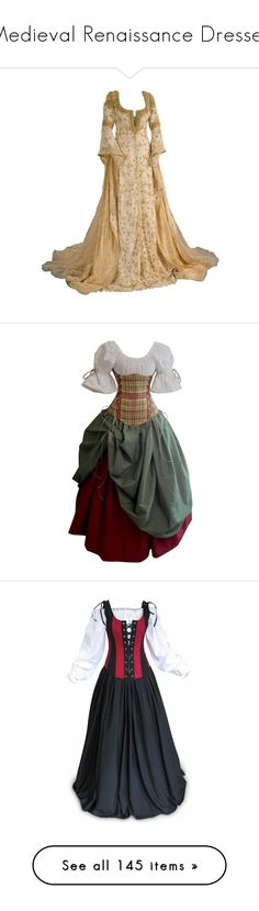 """Medieval Renaissance Dresses"" by smylin ❤ liked on Polyvore featuring dresses, gowns, medieval, costume, long dress, costumes, renaissance fair costumes, lady pirate costume, lady halloween costumes and pirate costume"