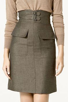 High Waisted Skirt with Buckles, Zara