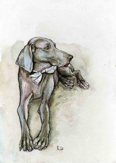 The Unconditional Love - Weimaraner Dog Art Print.  Elle Wilson