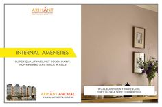 Arihant Anchal - Jodhpur 2 BHK Apartments Super Quality Velvet Touch Paint, POP Finished AAC Brick Walls www.asl.net.in/arihant-anchal.html #ArihantAnchal #RealEstate #Taloja #NaviMumbai #Property #LuxuryHome