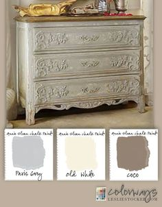 Colorways with Leslie Stocker ? Rococo Chest from Soft Surroundings inspires an Annie Sloan Chalk Paint? Paris Grey, Old White, Coco Refurbished Furniture, Repurposed Furniture, Furniture Makeover, Vintage Furniture, Chalk Paint Furniture, Furniture Projects, Furniture Making, Diy Furniture, Annie Sloan Farbe