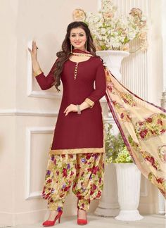 Phenomenal Brown Cotton Trendy Patiala Salwar Kameez