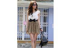Wish | Cute Dotty Spring Time Dress w/ black bow